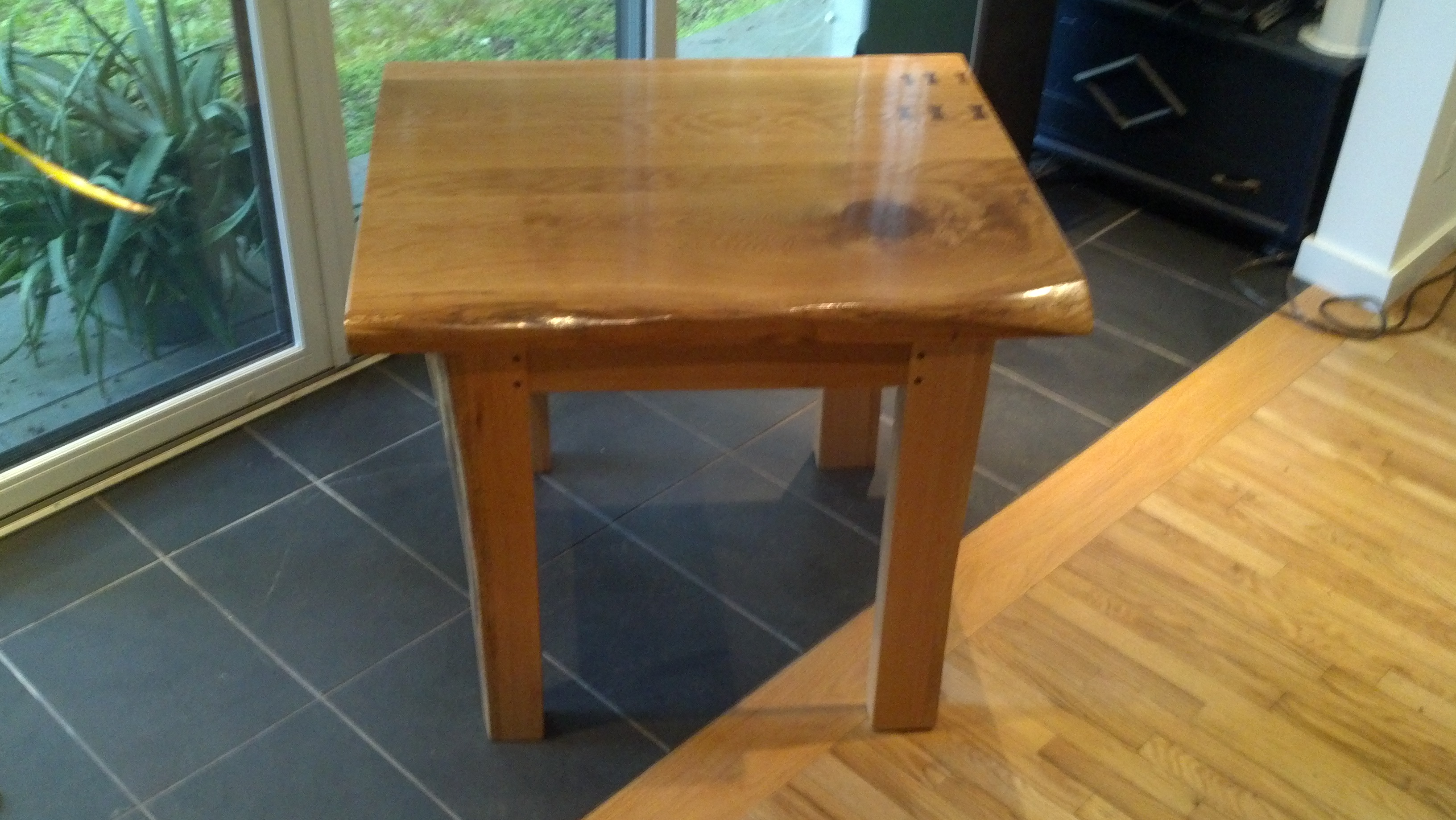Small oak kitchen table with walnut accents by No Walls Studio