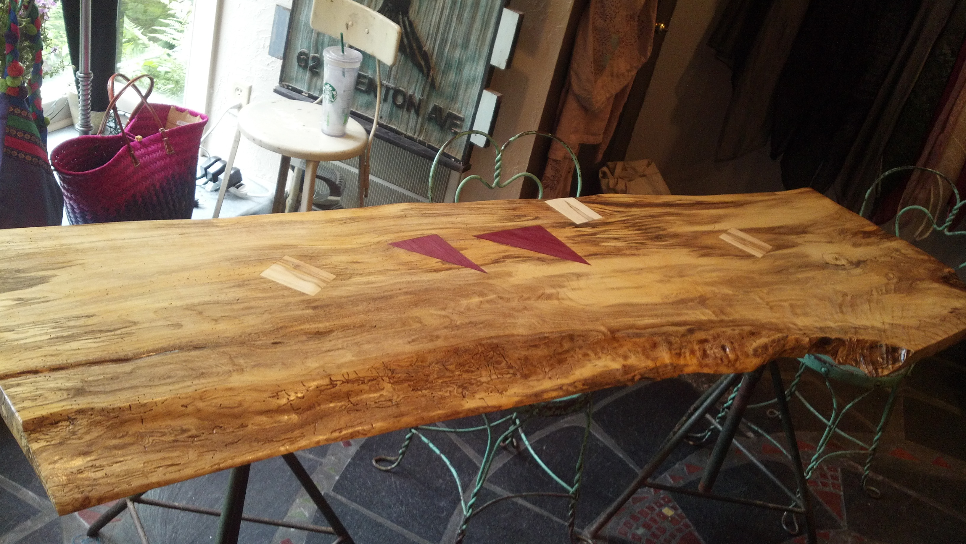Maple Desk / Work Table with Purpleheart and Ambrosia Maple inserts by No Walls Studio