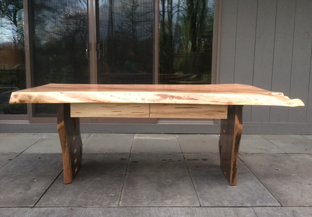 Larry Ricci Maple Ambrosia Desk with Walnut Legs