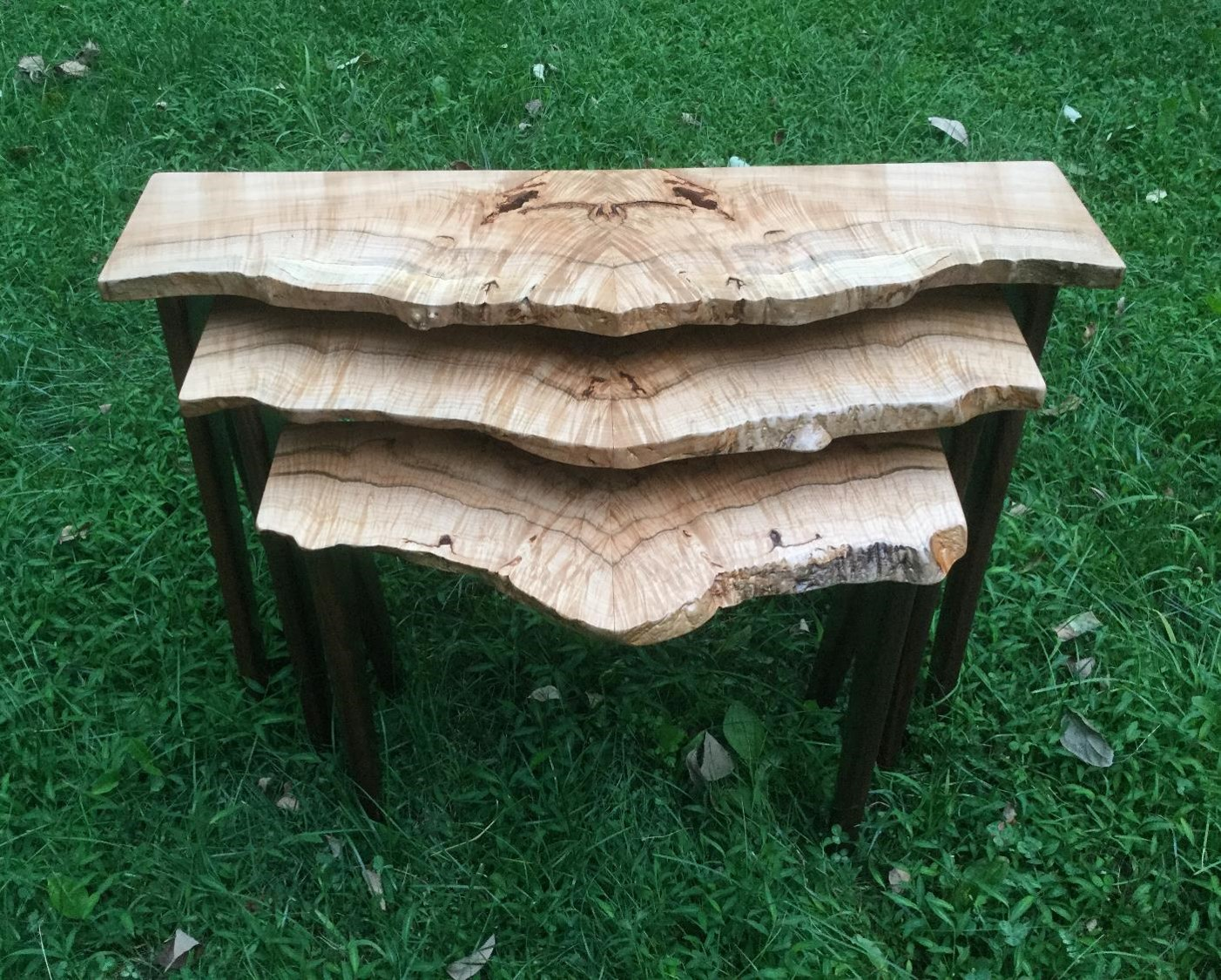 Maple Burl Stacking Tables